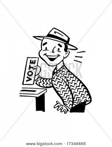 Man Voting - Retro Clipart Illustration