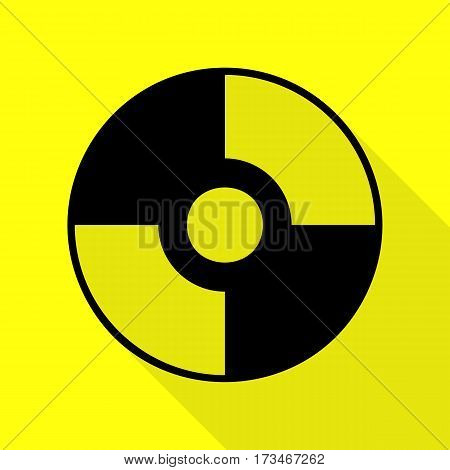 Vector CD or DVD sign. Black icon with flat style shadow path on yellow background.