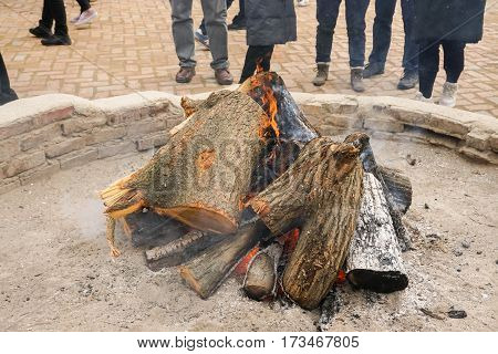 close up firewood flame to keep people warm in winter