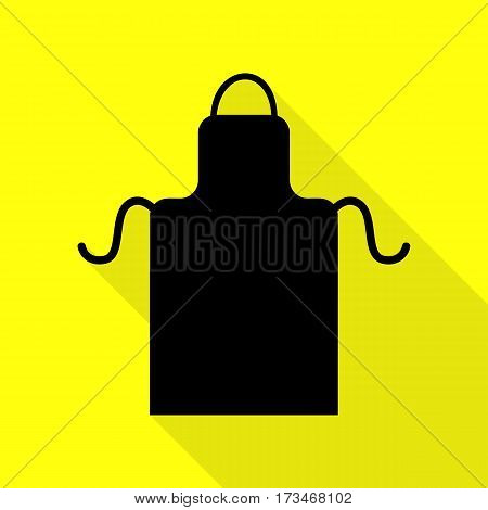 Apron simple sign. Black icon with flat style shadow path on yellow background.