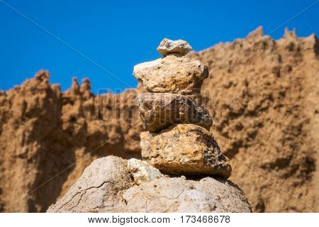 stacked stones in rock aerea of Sao Din Na Noi Nan Province Thailand