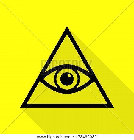 All seeing eye pyramid symbol. Freemason and spiritual. Black icon with flat style shadow path on yellow background.
