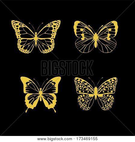 vector illustration of four golden butterflies on black background