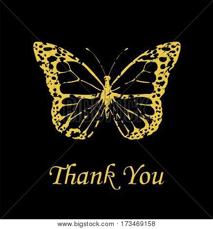 vector illustration of a thank you card with vintage golden butterfly