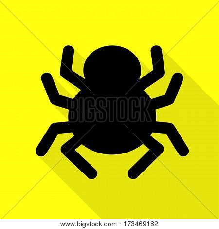 Spider sign illustration. Black icon with flat style shadow path on yellow background.