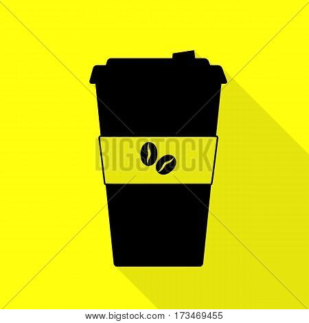 TV microphone sign illustration. Black icon with flat style shadow path on yellow background.