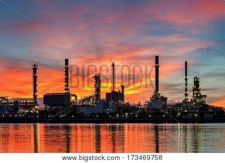 Oil refinery at sunrise ,Twilight, Thailand,Oil refinery