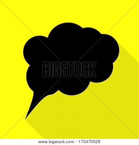 Speach bubble sign illustration. Black icon with flat style shadow path on yellow background.
