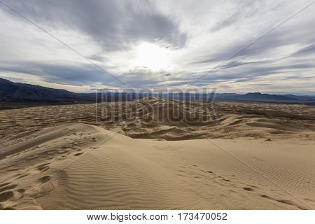 Top of Kelso sand dunes wilderness area in the Mojave National Preserve near Baker California.