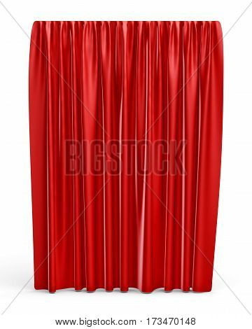 3d rendering of a straight red closed curtain isolated on white background. Ads and promotions. Theater. Opening shows.