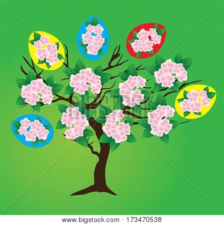 vector illustration of a colorful Easter tree with flowers and floral decorative eggs isolated on green background