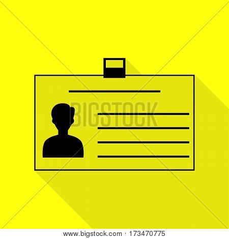 Identification card sign. Black icon with flat style shadow path on yellow background.