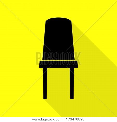 Office chair sign. Black icon with flat style shadow path on yellow background.