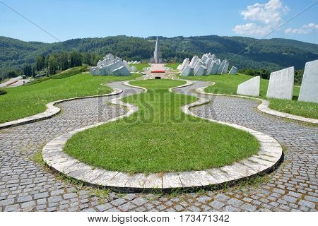 KADINJACA, SERBIA - AUGUST 02, 2016: Memorial Complex testifies when in November 1941 members of the Workers Battalion of Uzice Partisan Detachment provided fierce resistance to superior German enemy