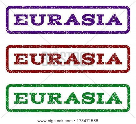 Eurasia watermark stamp. Text caption inside rounded rectangle frame with grunge design style. Vector variants are indigo blue red green ink colors. Rubber seal stamp with unclean texture.