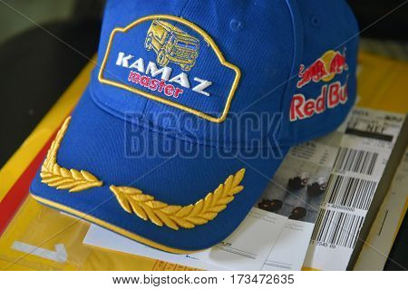Buenos Aires Argentina - 30 Dec 2015: KAMAZ Master team cap at the press conference ahead of Dakar rally 2016.