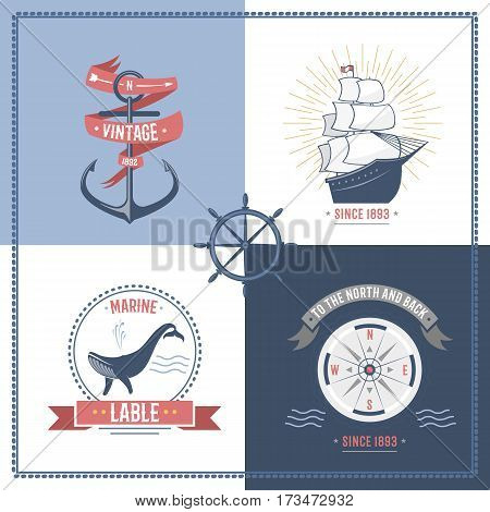 Fashion nautical and sailing themed label or icon with ship, anchor, rope, steering wheel and ribbons. Travel element graphic emblem with ship sign vector illustration.
