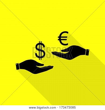 Currency exchange from hand to hand. Dollar adn Euro. Black icon with flat style shadow path on yellow background.