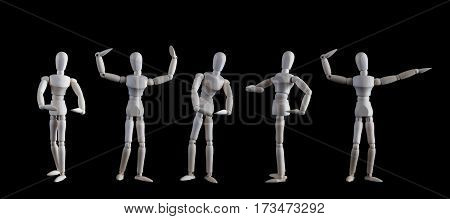Set Of Wooden Figurines Posing As Bodybuilders Isolated On Black Background. Bodybuilders Competitio