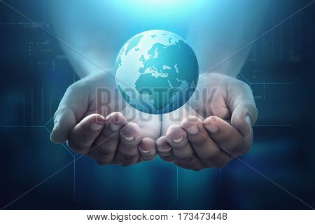People Hand Holding Floating Earth