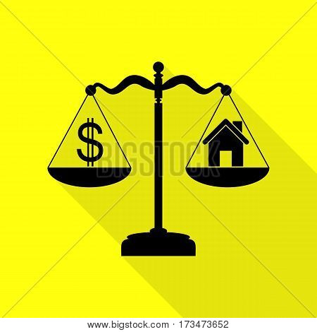 House and dollar symbol on scales. Black icon with flat style shadow path on yellow background.
