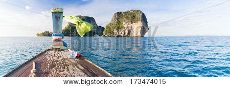 Long Tail Thailand Boat Sailing Mountains Ocean Sea Vacation Travel Trip Beautiful Nature