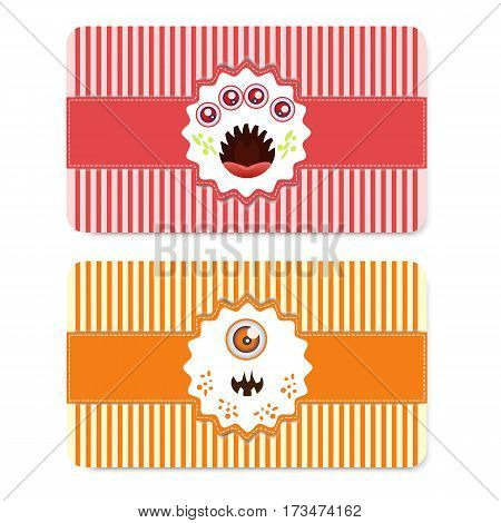 Two red and orange cards with cute monsters. Postcards for party, birthday, halloween, invitations and other design needs. Vector illustration