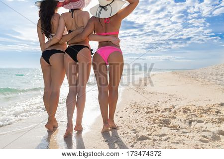 Girl Group On Beach Summer Vacation, Young Woman Back Rear View Closeup Sea Ocean Holiday Travel