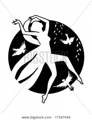 Moon Goddess - Retro Clipart Illustration