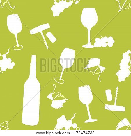 Seamless vector pattern with freehand drawings of wine glasses, grapes, bottle, corkscrew, cork, and vine leaf with tendril, white silhouettes on a lime green background