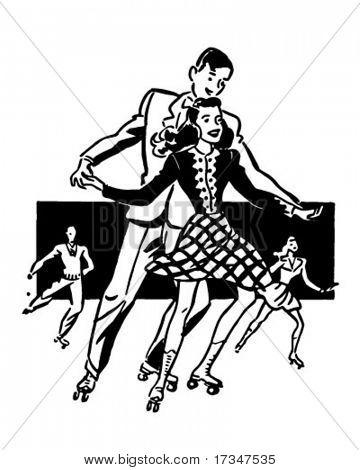 Rollerskaters - Retro Clipart Illustration
