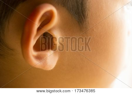 Ear of child or ear of boy.Concept and idea for health.