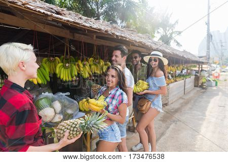 People Group Asian Fruits Street Market Buying Fresh Food, Young Friends Tourists Exotic Vacation Tropical Holiday