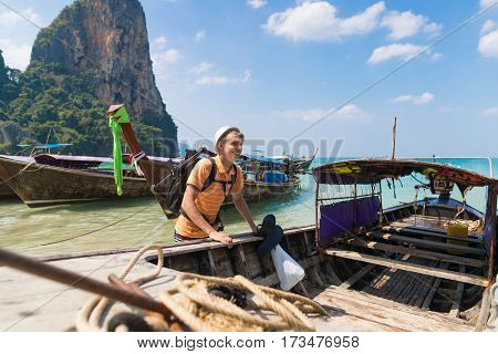 Young Man Tourist Long Tail Thailand Boat Port Ocean Guy Sea Vacation Travel Trip Tropical Holiday