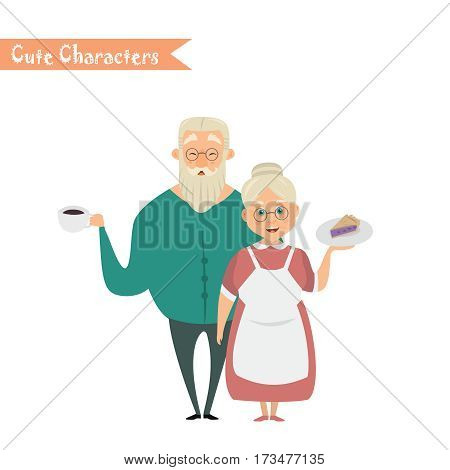 Couple of older people. Grandmother and grandfather. Vector illustration greeting. Lovely elderly couple poster