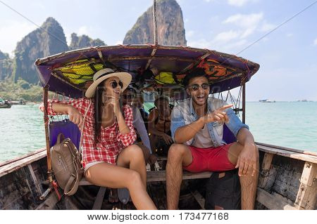 Young People Group Tourist Sail Long Tail Thailand Boat Ocean Friends Sea Vacation Travel Trip Tropical Holiday