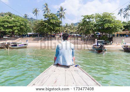 Young Man Tourist Sail Long Tail Thailand Boat Ocean Sea Vacation Travel Trip Exotic Asia Holiday