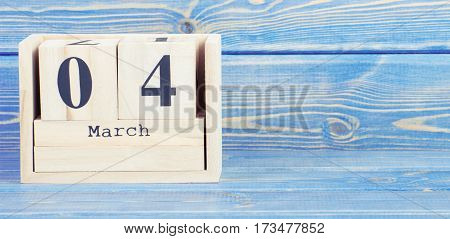 Vintage Photo, March 4Th. Date Of 4 March On Wooden Cube Calendar