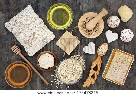 Natural ingredients for skin and body health care with oats, honey and almond oil.