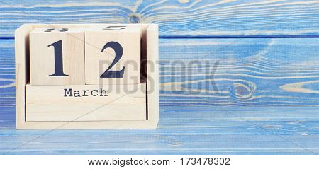 Vintage Photo, March 12Th. Date Of 12 March On Wooden Cube Calendar