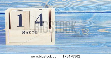 Vintage Photo, March 14Th. Date Of 14 March On Wooden Cube Calendar