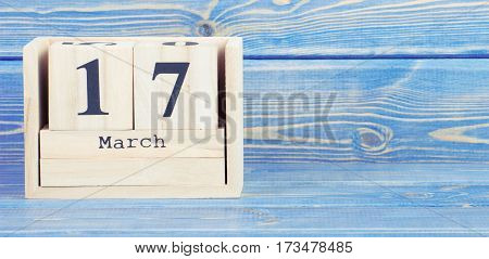 Vintage Photo, March 17Th. Date Of 17 March On Wooden Cube Calendar