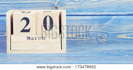 Vintage Photo, March 20Th. Date Of 20 March On Wooden Cube Calendar
