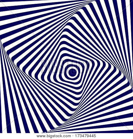 Vector illustration blue white geometric background of increasing and rotating a square with rounded corners creating an optical illusion.