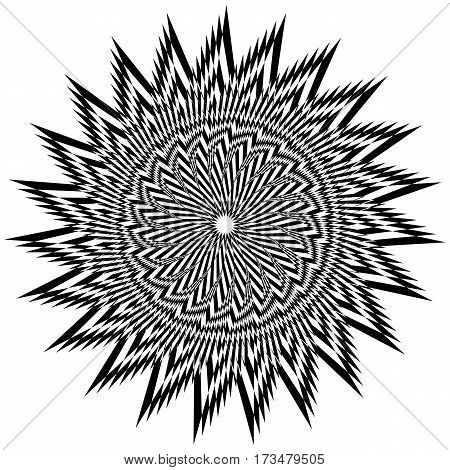 Vector illustration of black and white complicated pattern on a white background creates an optical illusion.