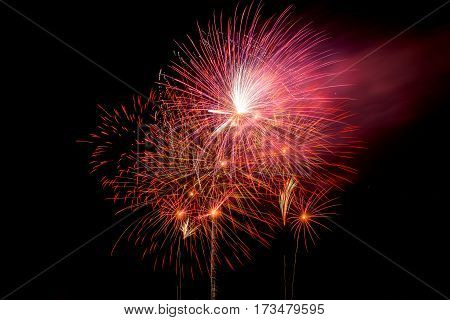 Close up of fireworks light up the sky