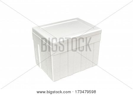 Styrofoam storage box isolated on white background. This has clipping path.