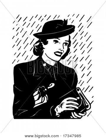 Earnest Shopper - Retro Clipart Illustration