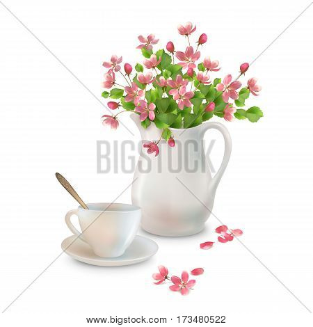 Vector spring bouquet in ceramic jug, cup, flowers and fallen petals on a white background