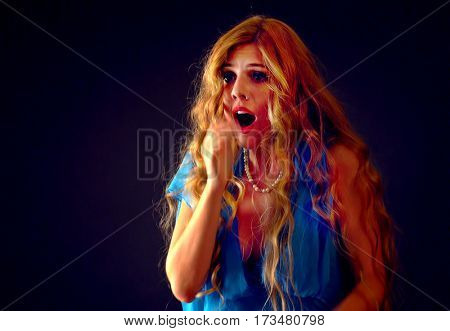 Frightened woman screaming with fear indoor at halloween night. Horror. Girl with tousled hair bawl black background. Lovely red-haired female scared.